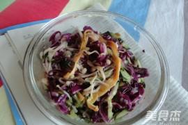 凉拌三丝的家常做法大全(紫甘蓝、金针菇、黄瓜)